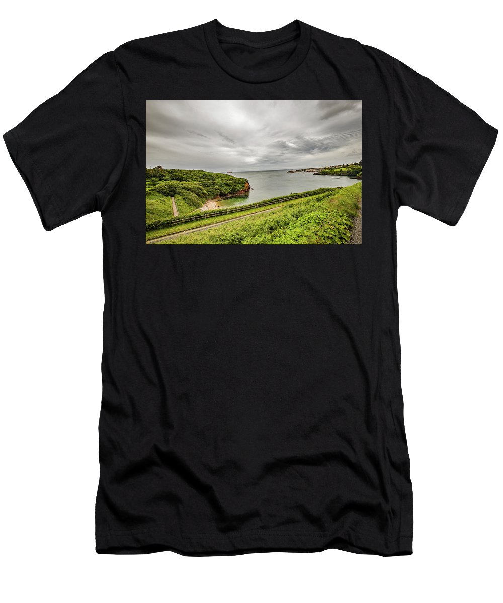 Irish Coast Men's T-Shirt (Athletic Fit) featuring the photograph Dunmore East Cliffs by ed James
