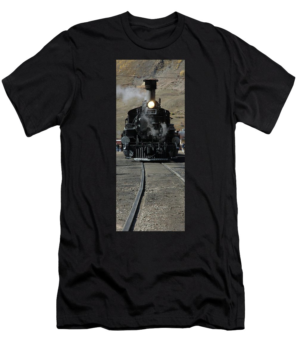 Steam Men's T-Shirt (Athletic Fit) featuring the photograph Durango Silverton Narrow Guage by Jerry McElroy
