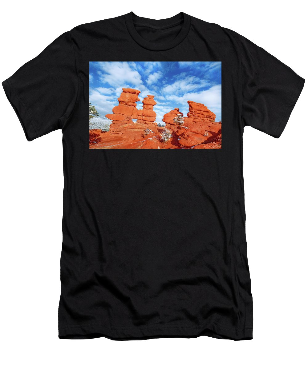 The Siamese Twins Rock Formation Men's T-Shirt (Athletic Fit) featuring the photograph Durga, The Indian Mother Goddess Of The Universe  by Bijan Pirnia