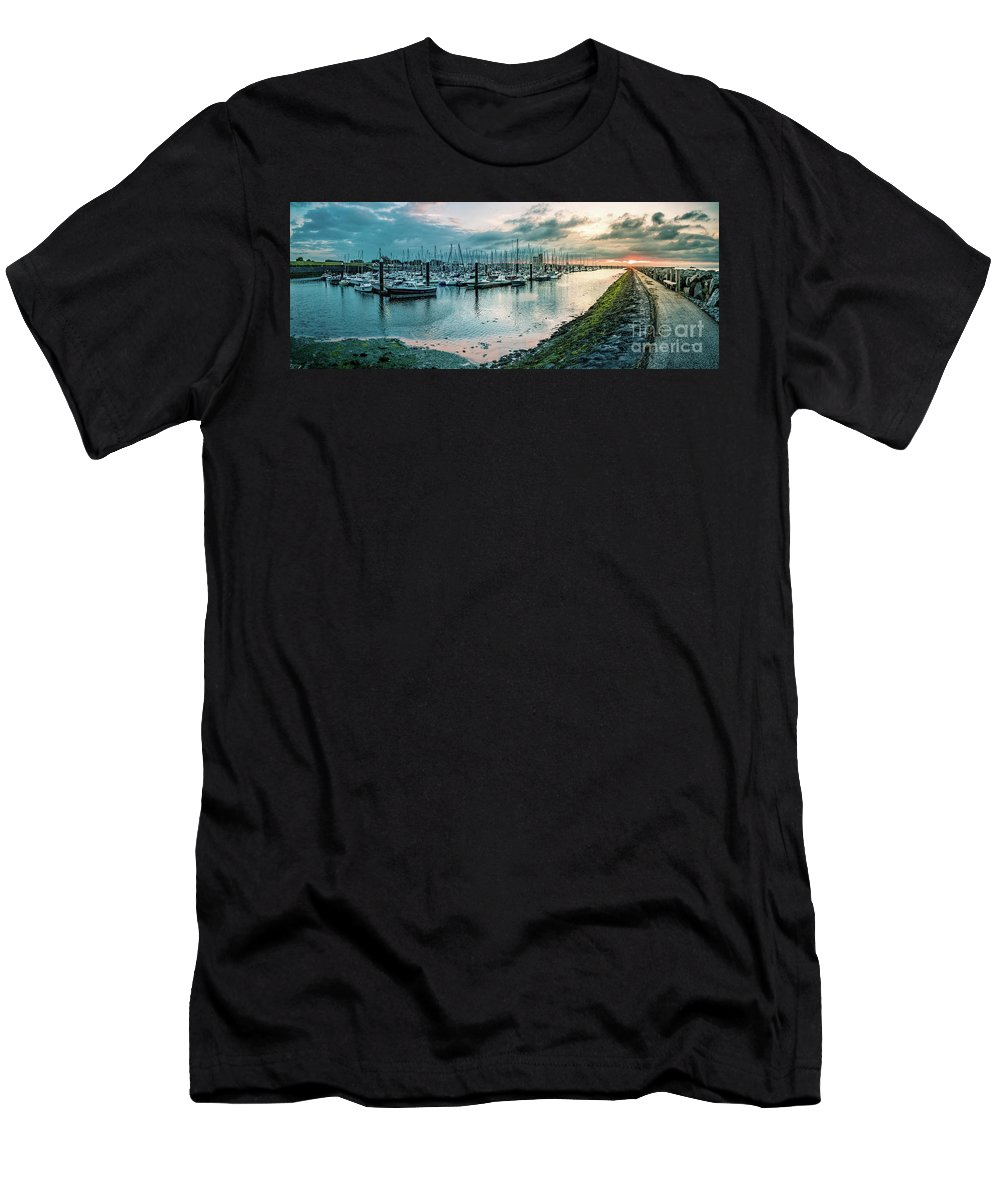 Breskens Men's T-Shirt (Athletic Fit) featuring the photograph Dusk At Breskens Harbor by Daniel Heine