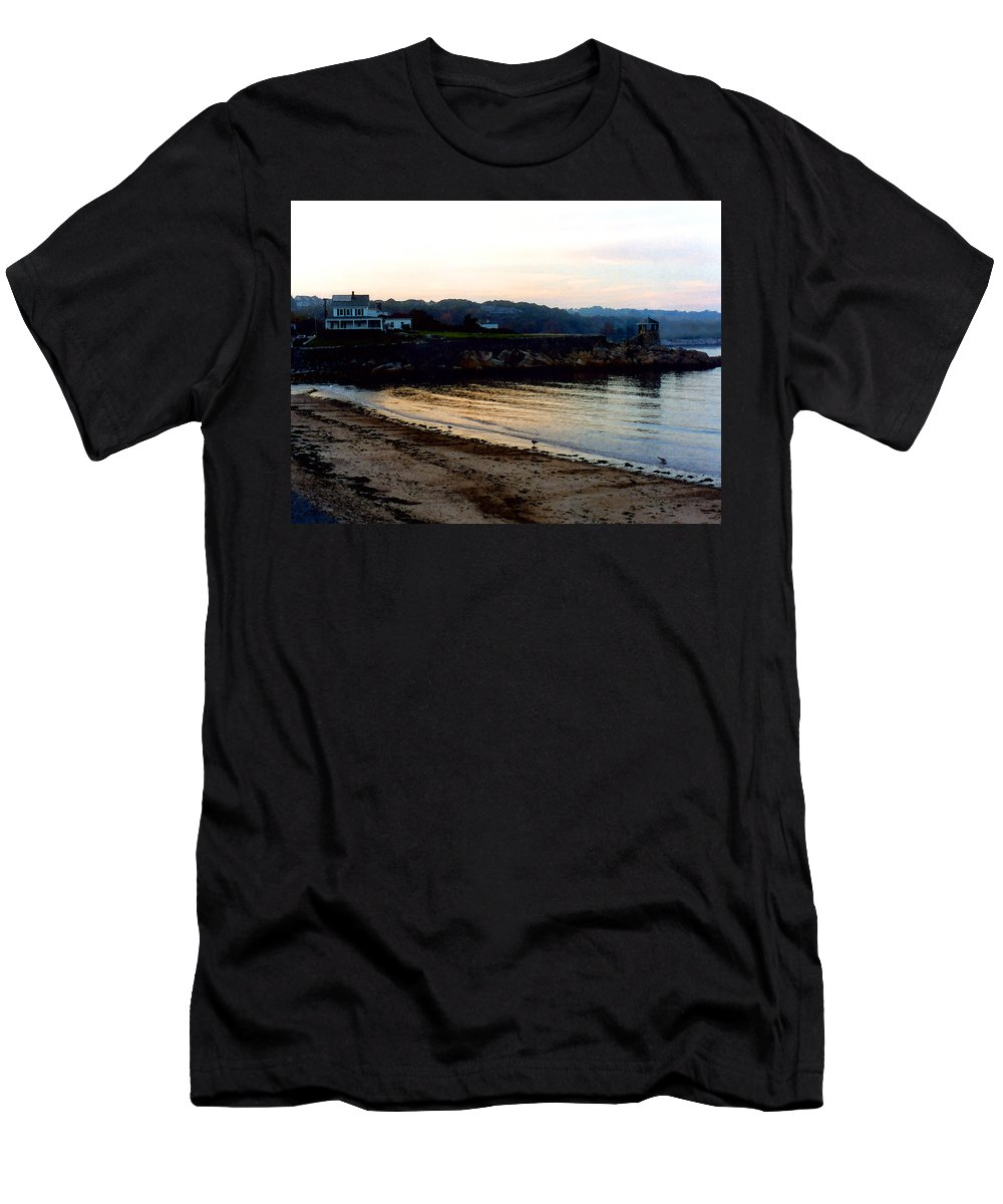 Seaside Men's T-Shirt (Athletic Fit) featuring the painting Dusk At Rockport by Paul Sachtleben
