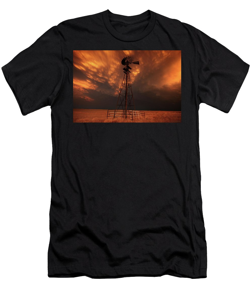 Dusk Men's T-Shirt (Athletic Fit) featuring the photograph Dusk Down At The Mill by Brian Gustafson