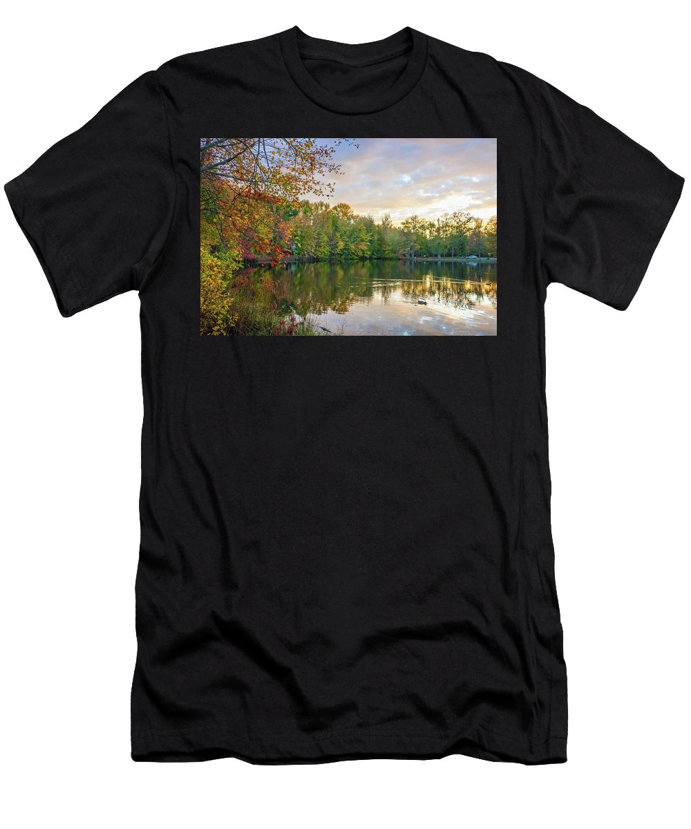 New Jersey Men's T-Shirt (Athletic Fit) featuring the photograph Dusk On Autumn Lake by Andrew Kazmierski