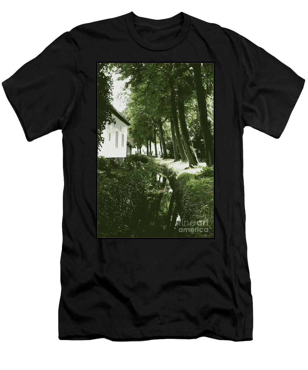 Dutch Men's T-Shirt (Athletic Fit) featuring the photograph Dutch Canal - Digital by Carol Groenen