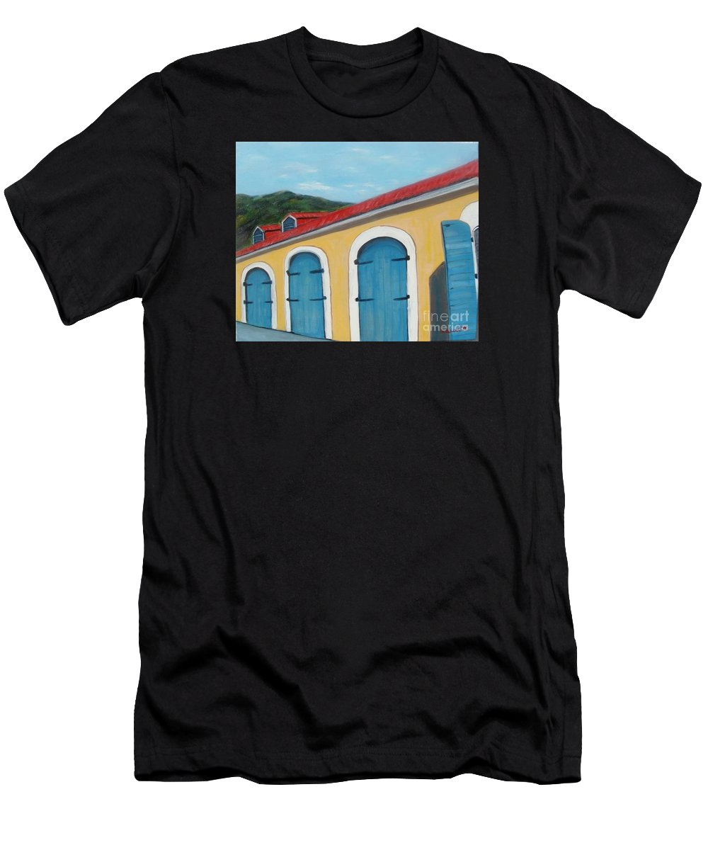Doors T-Shirt featuring the painting Dutch Doors of St. Thomas by Laurie Morgan