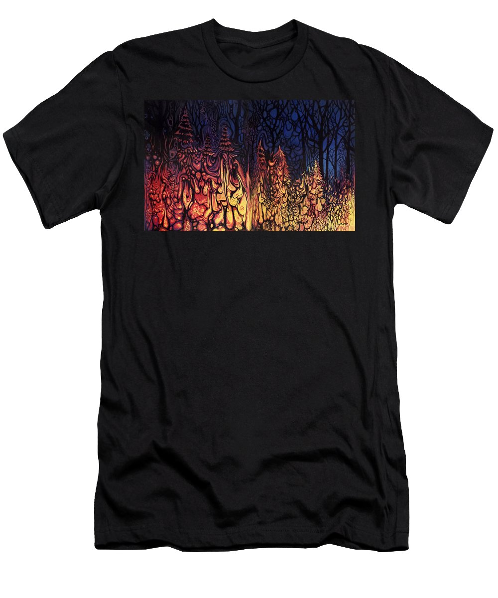 Disney Hell Melting Trees Forest Fire Abstract Woods Men's T-Shirt (Athletic Fit) featuring the painting Dystopian Fiction by Beth Waltz