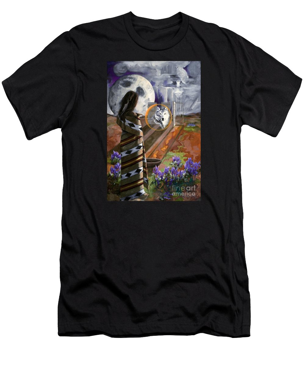 Native American Men's T-Shirt (Athletic Fit) featuring the painting E He Na   Come by Michele Bramlett