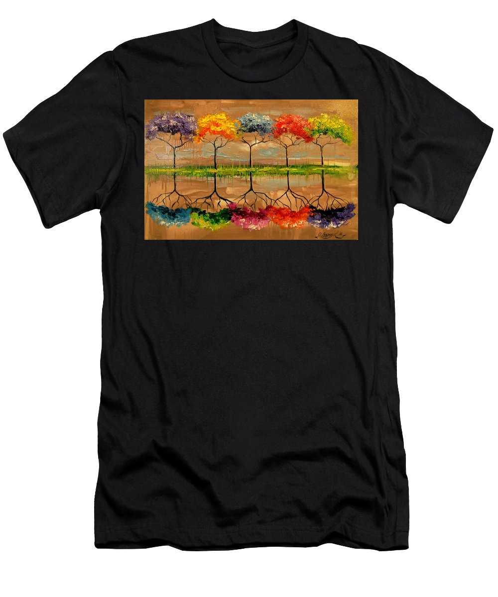 Each Tree By Its Smell Men's T-Shirt (Athletic Fit) featuring the painting Each Tree By Its Smell by Olha Darchuk