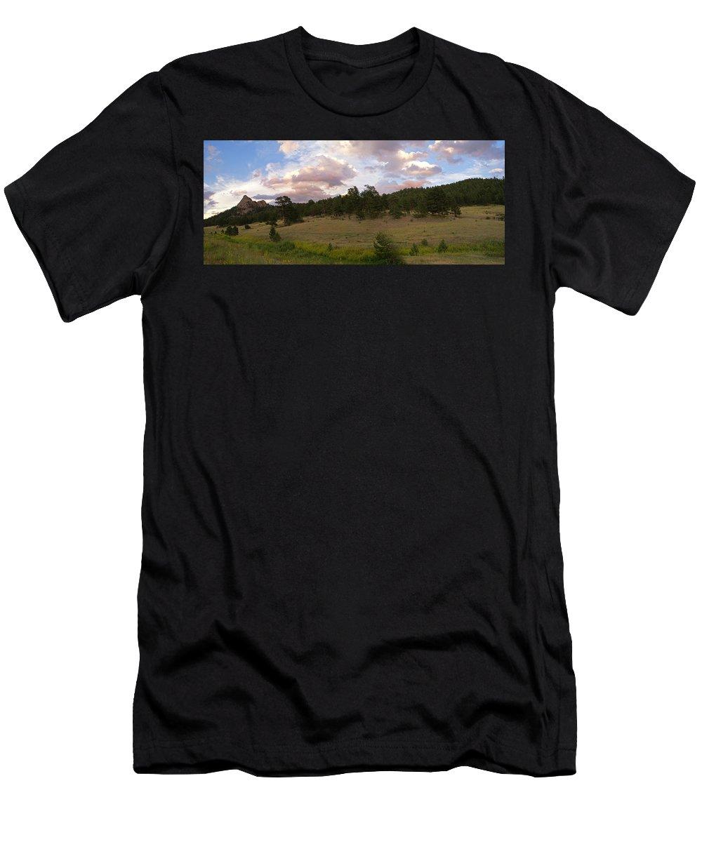 Eagle Roick Men's T-Shirt (Athletic Fit) featuring the photograph Eagle Rock Estes Park Colorado by Heather Coen