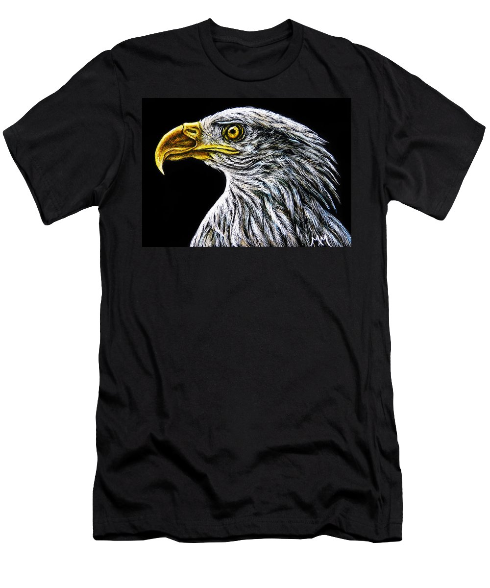 Eagle Men's T-Shirt (Athletic Fit) featuring the drawing Eagle - Sa96 by Monique Morin Matson