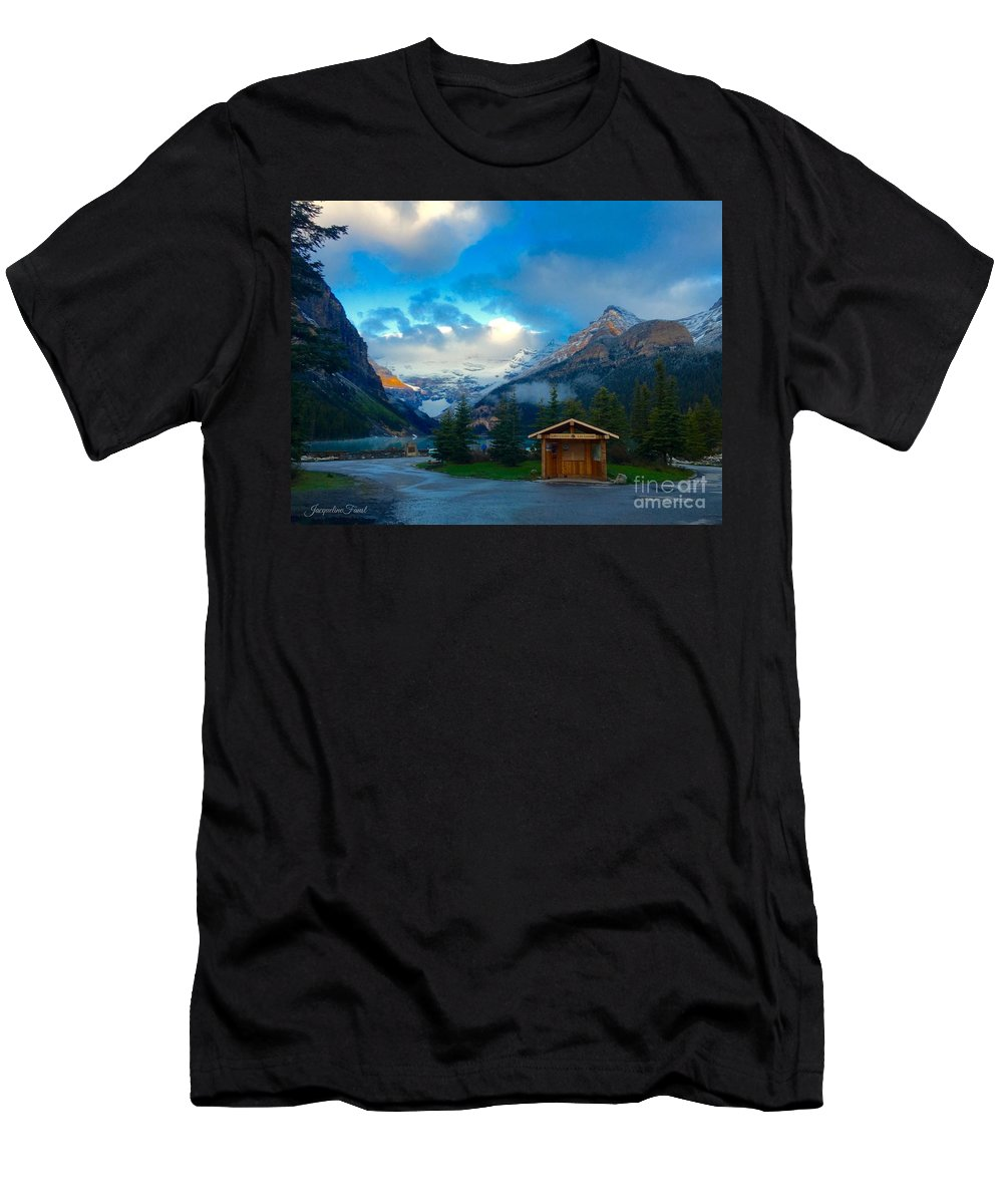 Banff Men's T-Shirt (Athletic Fit) featuring the photograph Early Moody Morning by Jacqueline Faust