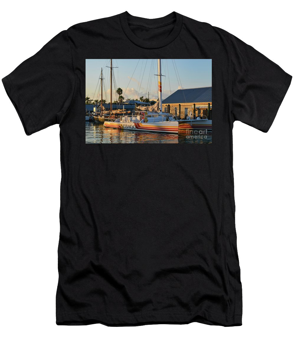 Key West Men's T-Shirt (Athletic Fit) featuring the photograph Early Morning In The Harbor by Bob Phillips