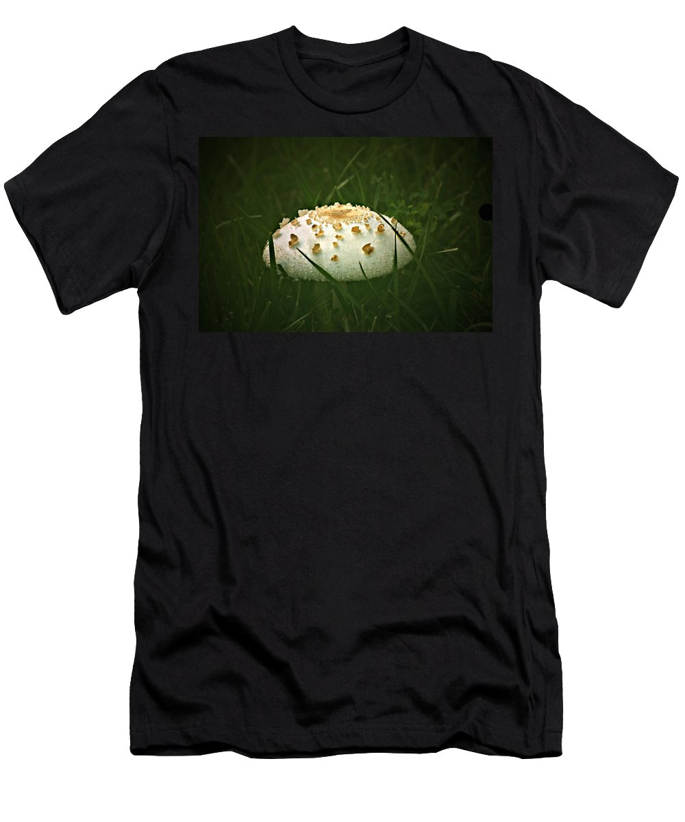 Mushroom Men's T-Shirt (Athletic Fit) featuring the photograph Early Morning Mushroom by Gary Adkins