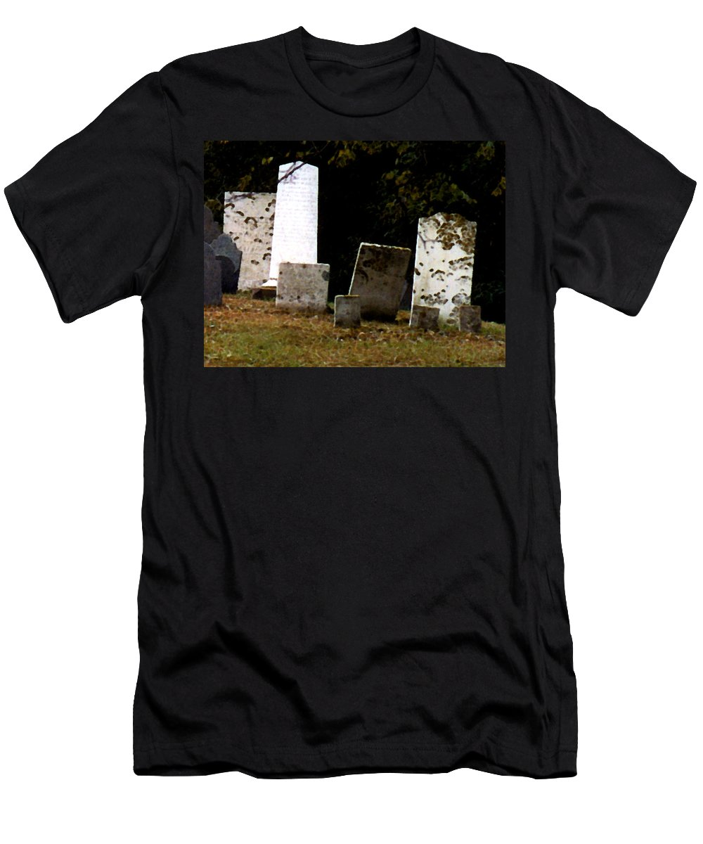 Grave Stones Men's T-Shirt (Athletic Fit) featuring the painting Early Settlers by Paul Sachtleben