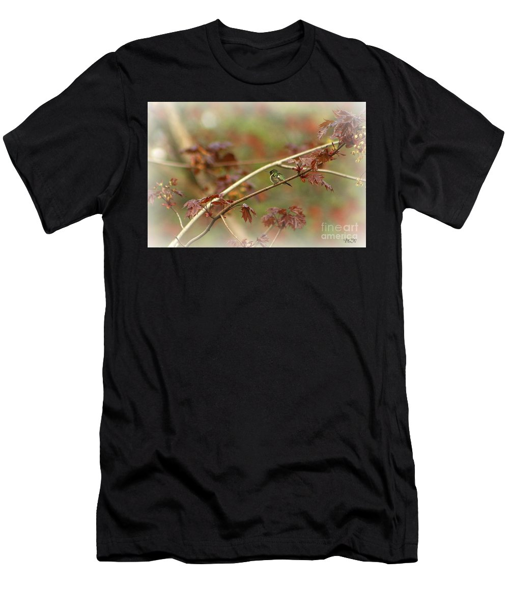 Bird Men's T-Shirt (Athletic Fit) featuring the photograph Early Summer Hummer by Barbara S Nickerson