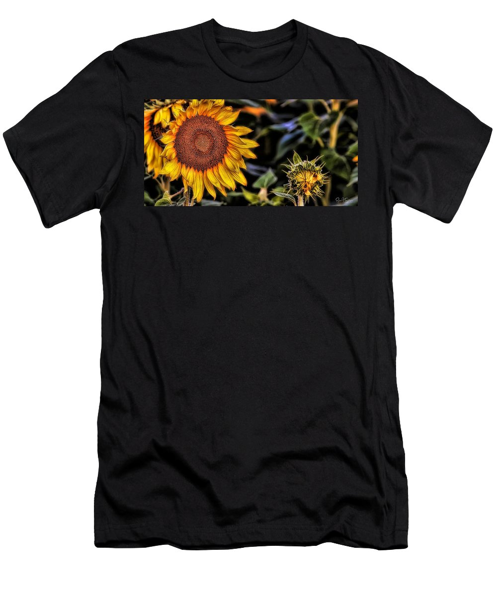 Sunflowers Men's T-Shirt (Athletic Fit) featuring the photograph Earth Day by Steve Sullivan