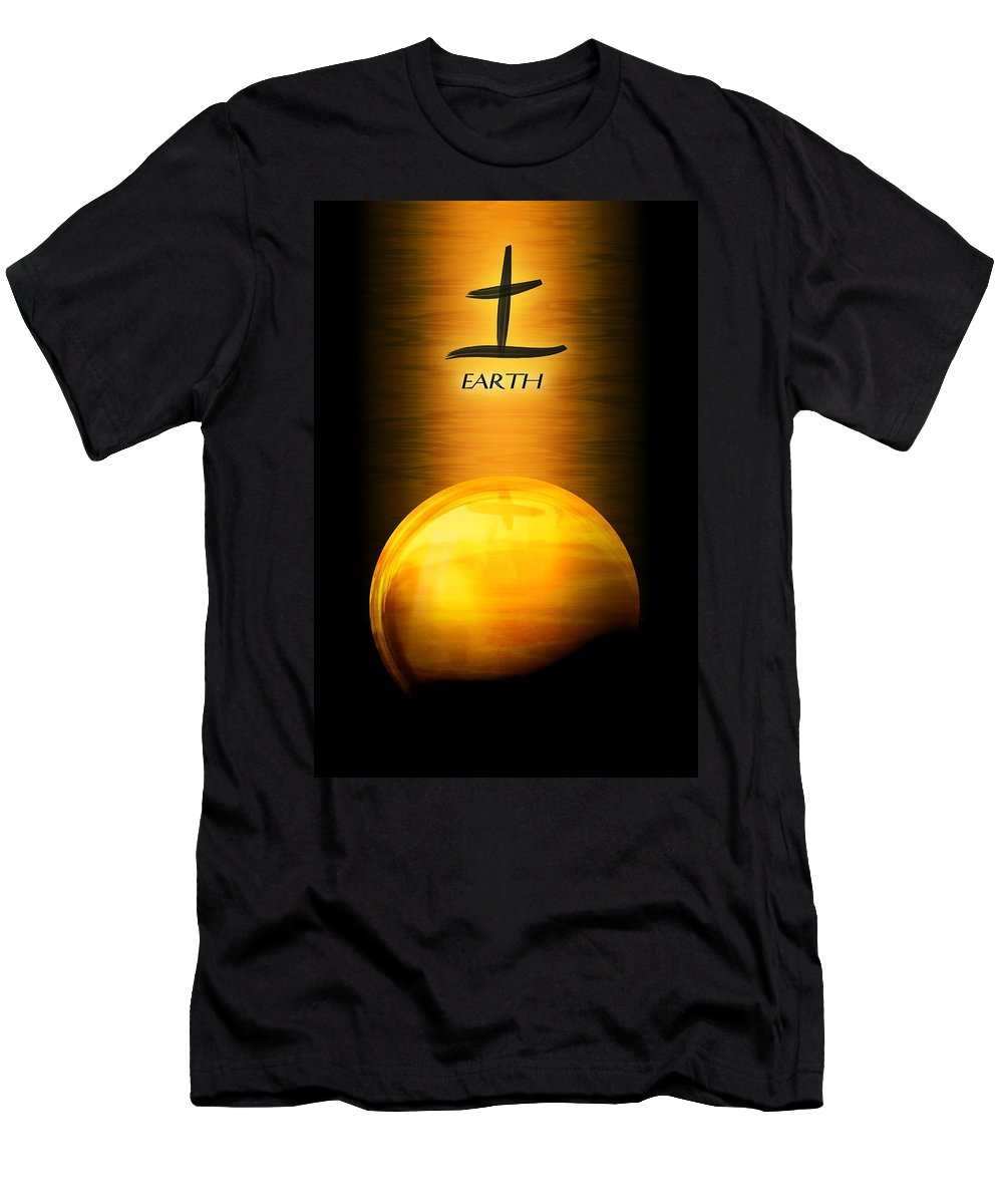 John Wills Art Men's T-Shirt (Athletic Fit) featuring the digital art Earth Elemental Sphere by John Wills