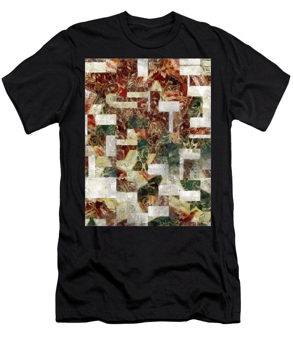 Abstract Men's T-Shirt (Athletic Fit) featuring the painting Earthquilt by RC DeWinter