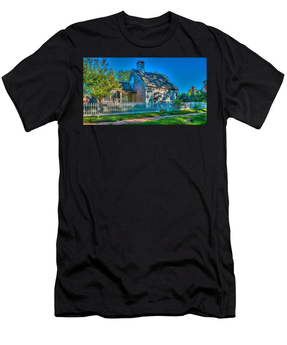 East Hampton Men's T-Shirt (Athletic Fit) featuring the photograph East Hampton Antique Cottage by Stan Dzugan