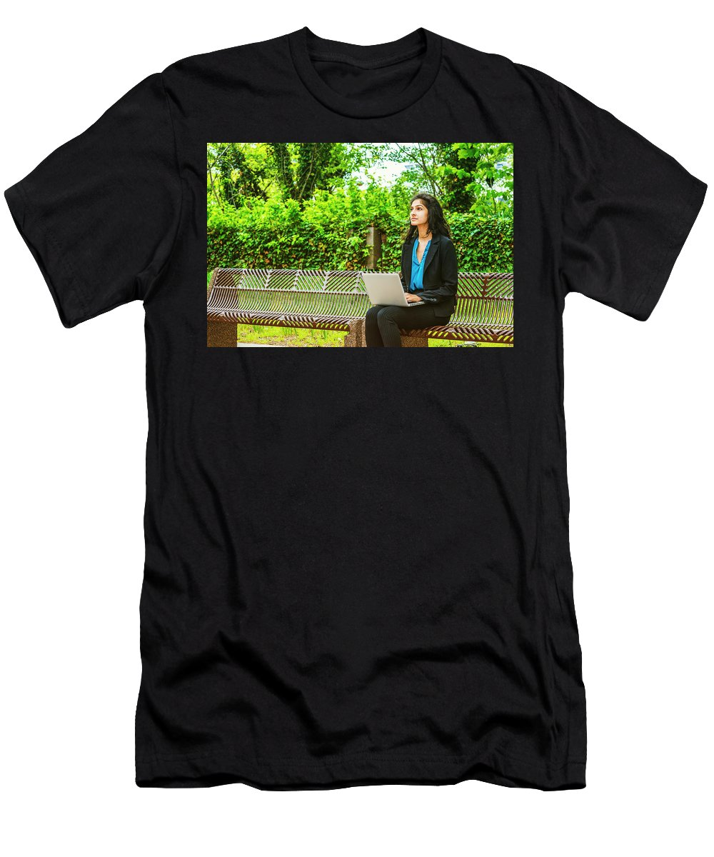 Girl Men's T-Shirt (Athletic Fit) featuring the photograph East Indian American College Student by Alexander Image