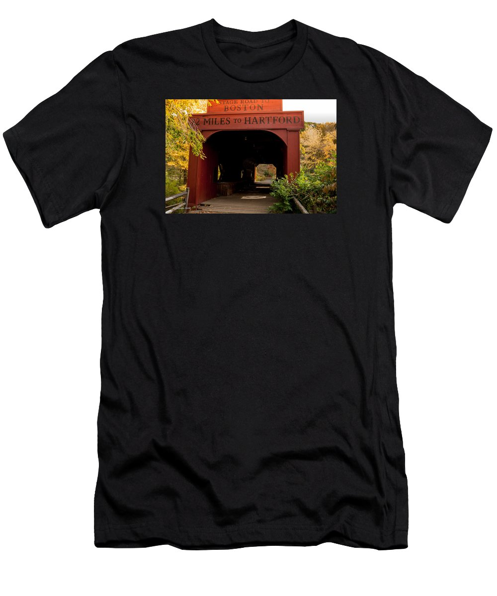 Covered Bridge Men's T-Shirt (Athletic Fit) featuring the photograph East Rock by James Holt