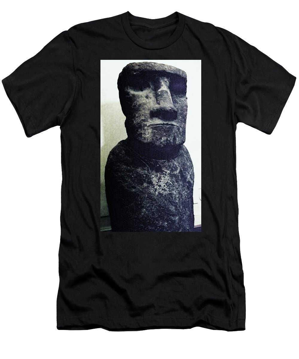 Easter Island Men's T-Shirt (Athletic Fit) featuring the painting Easter Island Stone Statue by Eric Schiabor