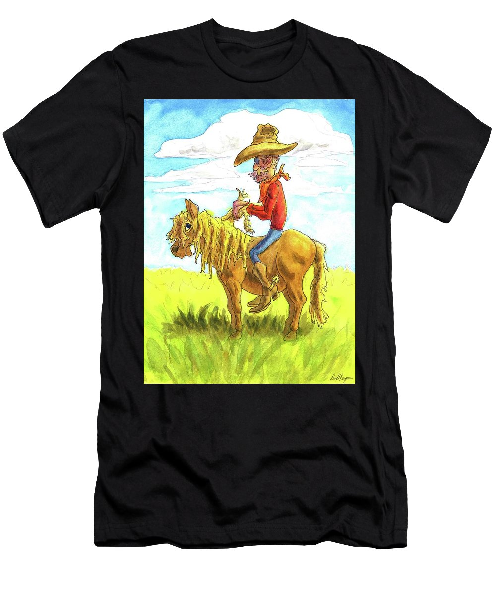 Cowpoke Men's T-Shirt (Athletic Fit) featuring the painting Easy, Big Fella by David Burgess