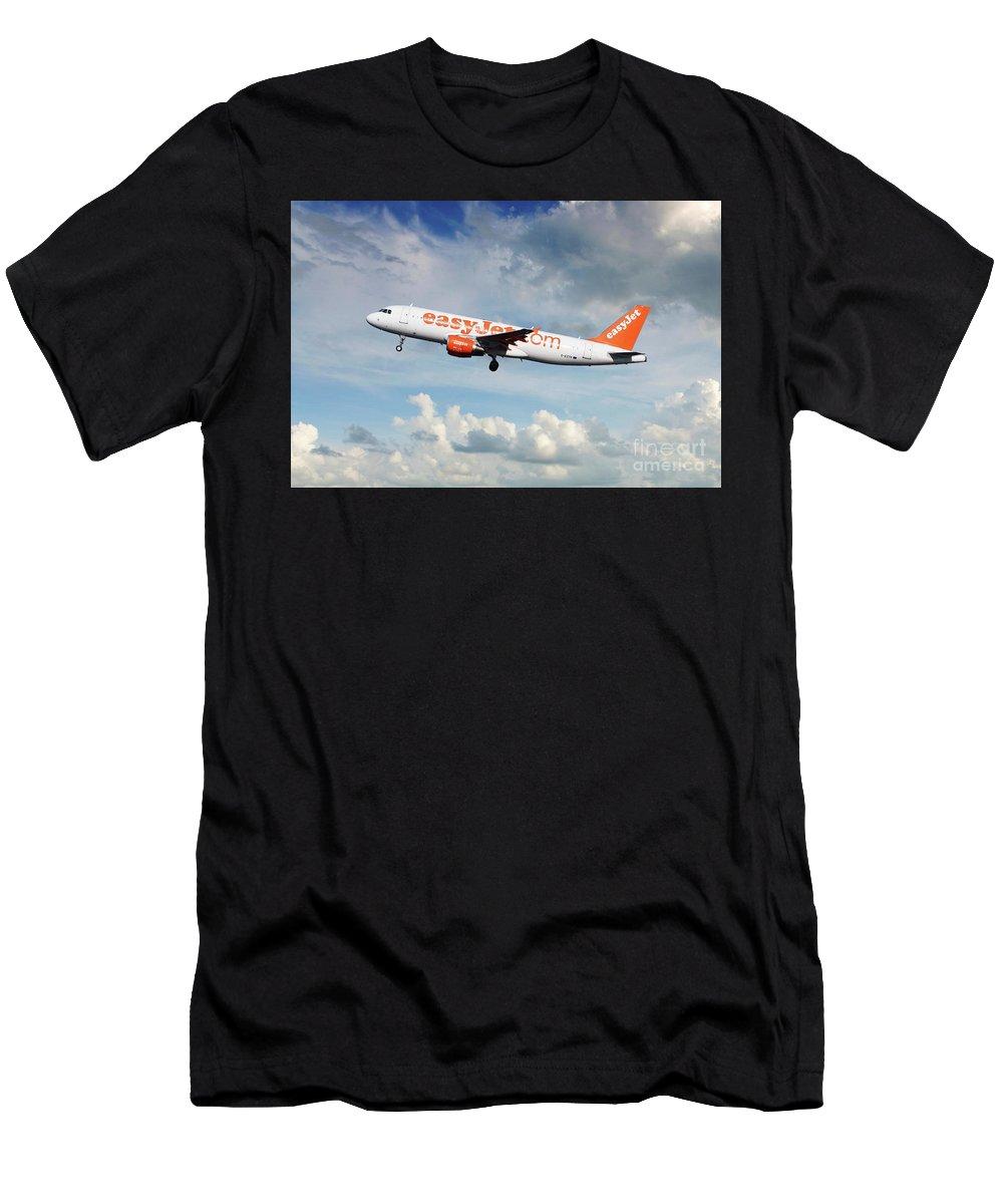 Airbus A320 Men's T-Shirt (Athletic Fit) featuring the digital art Easyjet Airbus A321-214 G-eztk by J Biggadike