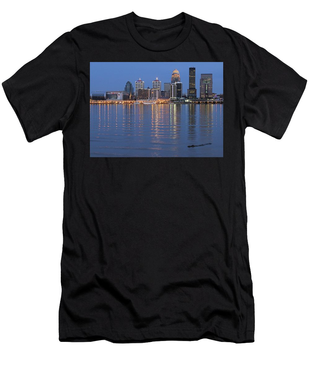 Louisville Men's T-Shirt (Athletic Fit) featuring the photograph Ebb And Flow Of Louisville by Frozen in Time Fine Art Photography