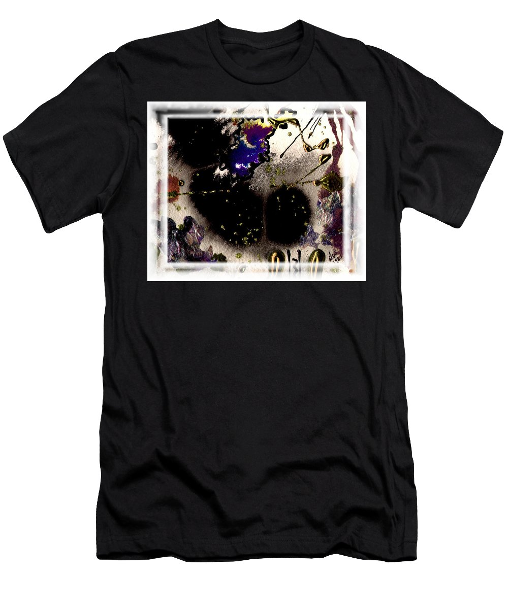 Night Men's T-Shirt (Athletic Fit) featuring the mixed media Ebony Nights by Angela L Walker