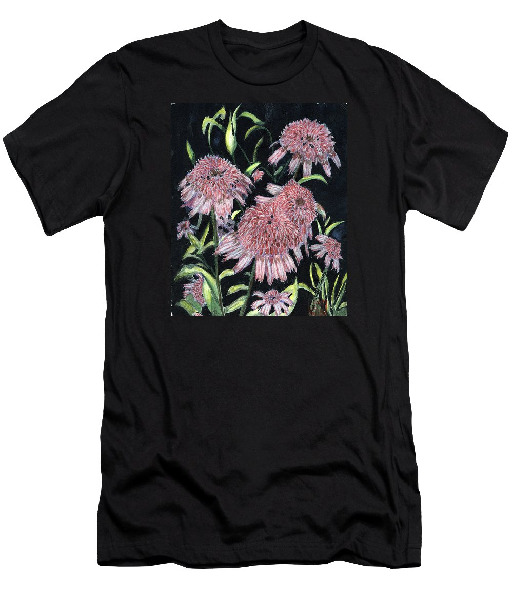 Echinacea Pinks Men's T-Shirt (Athletic Fit) featuring the painting Echinacea Pinks by Arlene Wright-Correll