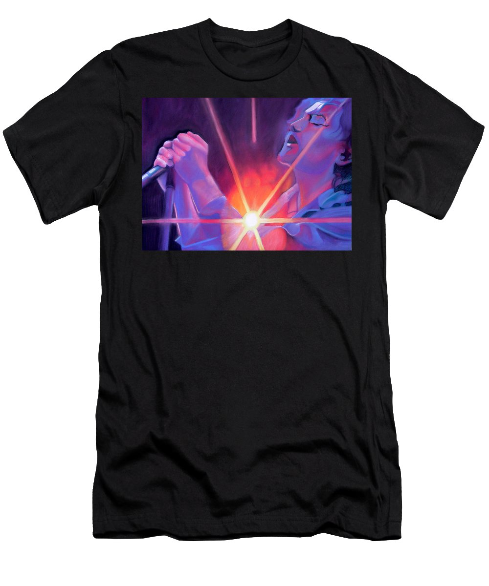 Eddie Vedder Men's T-Shirt (Athletic Fit) featuring the drawing Eddie Vedder And Lights by Joshua Morton