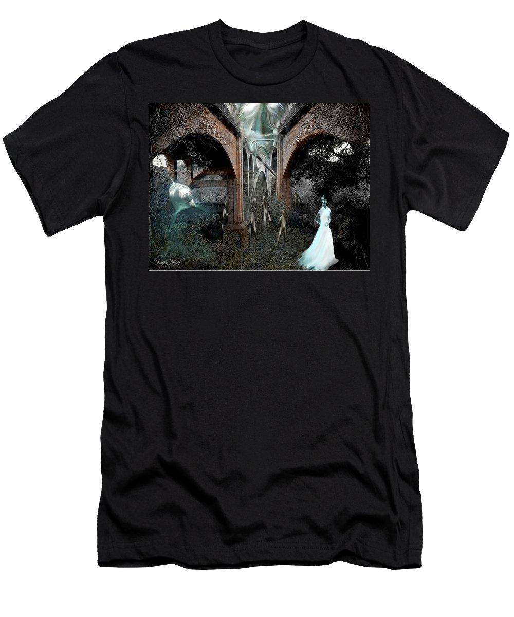 Eden Surreal Creatures Bridges Dreaming Men's T-Shirt (Athletic Fit) featuring the digital art Eden by Veronica Jackson
