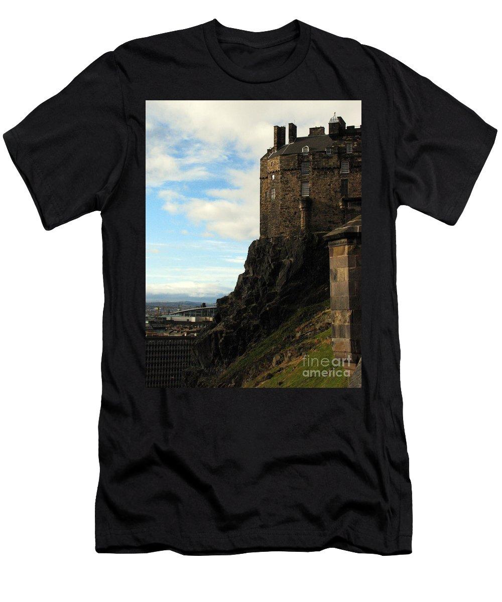 Castle Men's T-Shirt (Athletic Fit) featuring the photograph Edinburgh Castle by Amanda Barcon
