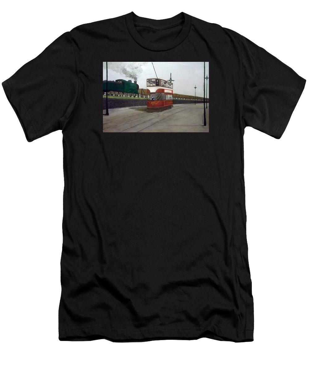Edinburgh Tram Men's T-Shirt (Athletic Fit) featuring the painting Edinburgh Tram With Goods Train by Peter Gartner