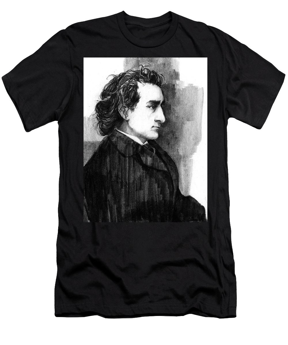 Men Men's T-Shirt (Athletic Fit) featuring the drawing Edwin Booth by Paul Sachtleben