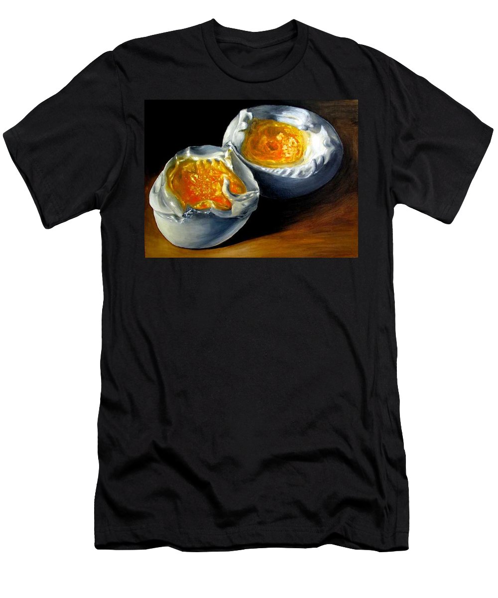 Eggs T-Shirt featuring the painting Eggs contemporary oil painting on canvas by Natalja Picugina