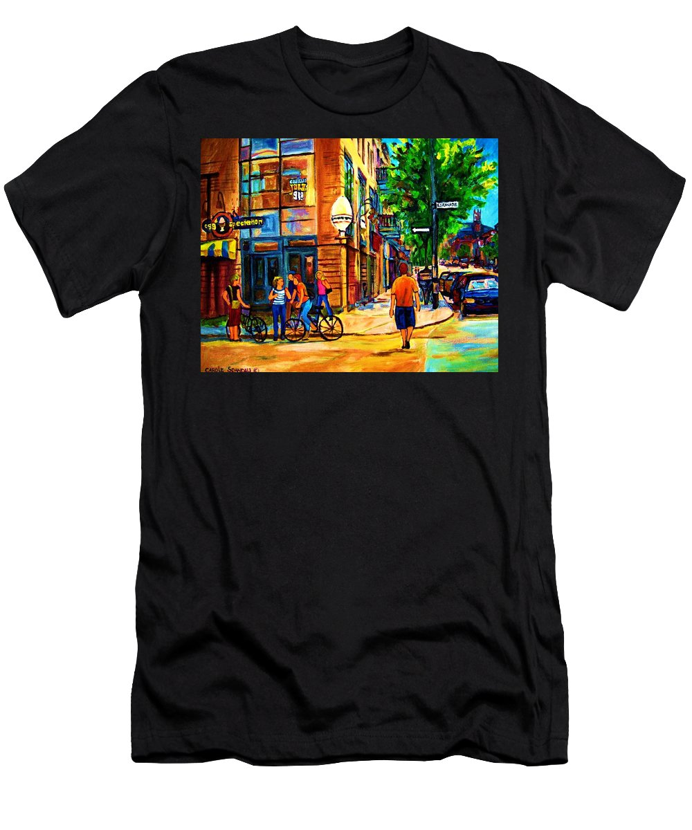 Eggspectation Cafe On Esplanade Men's T-Shirt (Athletic Fit) featuring the painting Eggspectation Cafe On Esplanade by Carole Spandau
