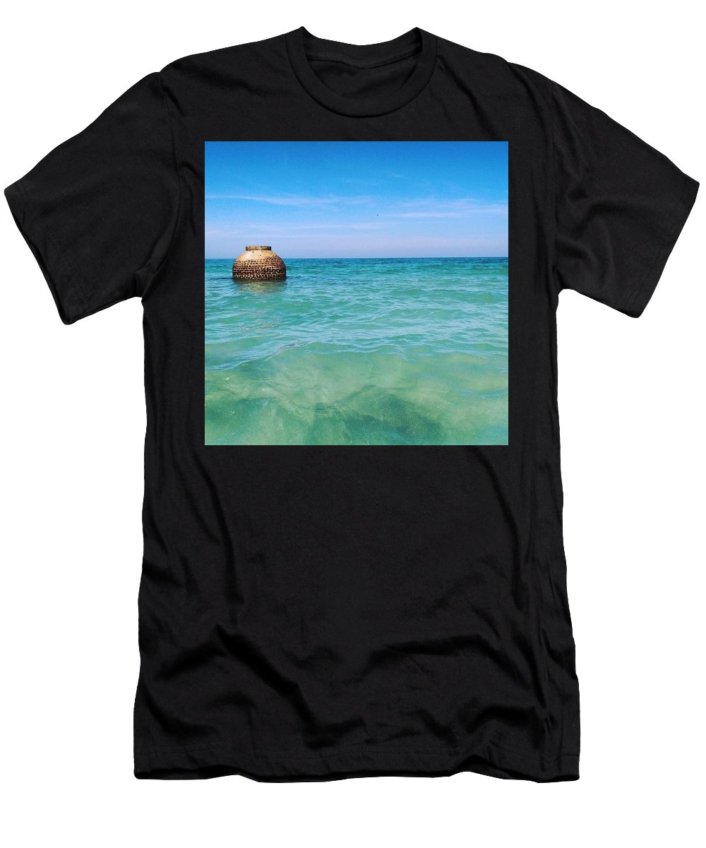 Beach Florida Water Vacation Tampa Men's T-Shirt (Athletic Fit) featuring the photograph Egmont Key, Tampa, Florida by Susan Seaver
