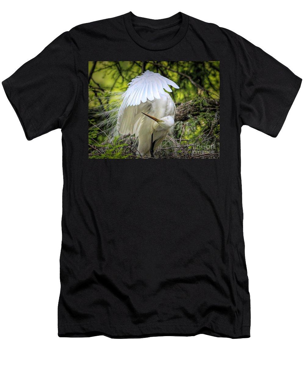 Great White Egret Men's T-Shirt (Athletic Fit) featuring the photograph Egret - 2975 by Paulette Thomas