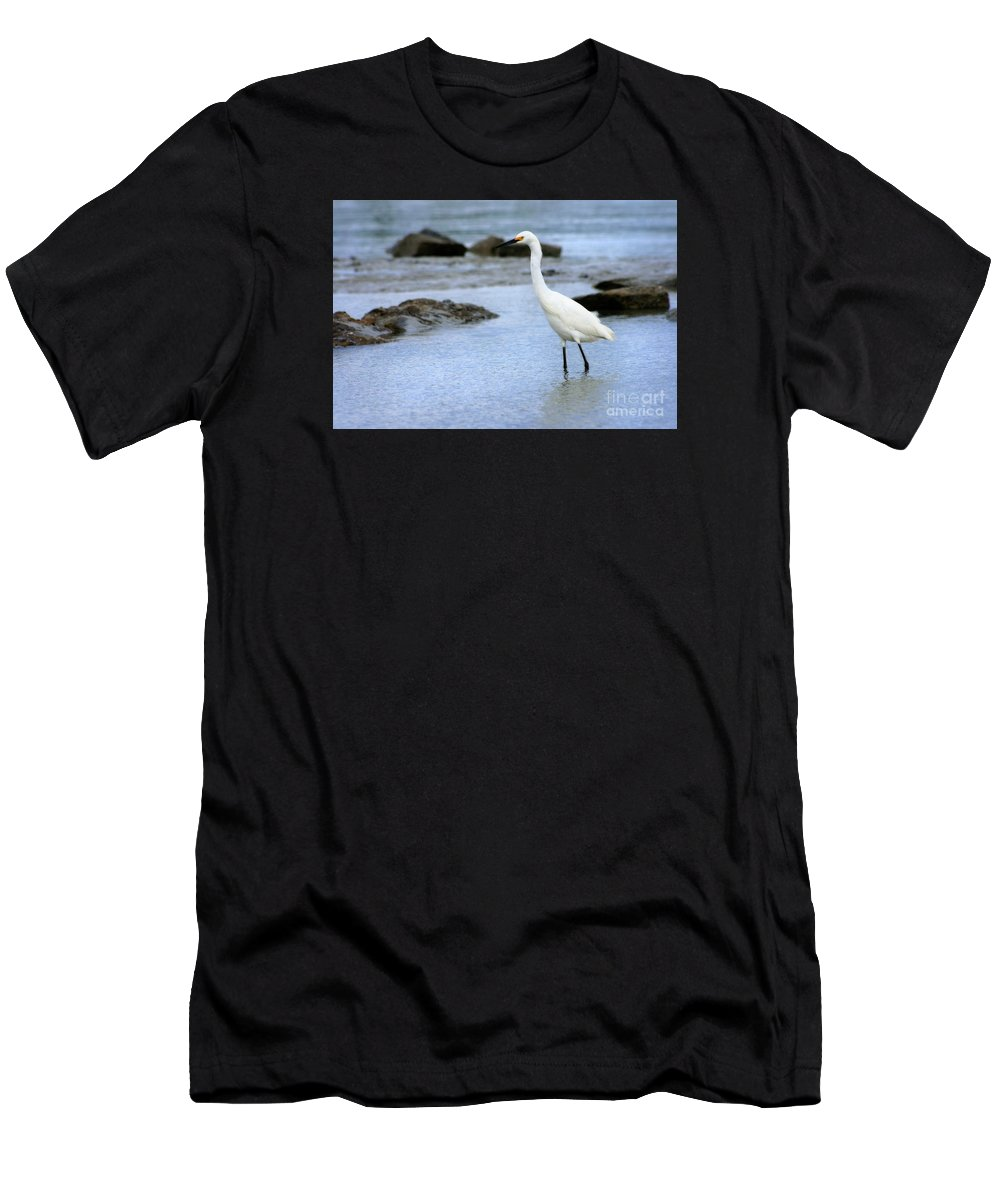 Men's T-Shirt (Athletic Fit) featuring the photograph Egret Patrolling by Angela Rath