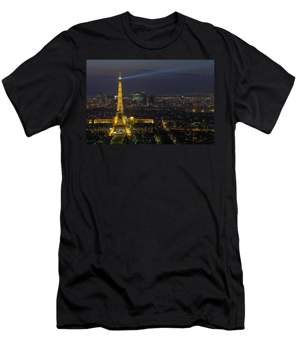 Eiffel Men's T-Shirt (Athletic Fit) featuring the photograph Eiffel Tower At Night by Sebastian Musial