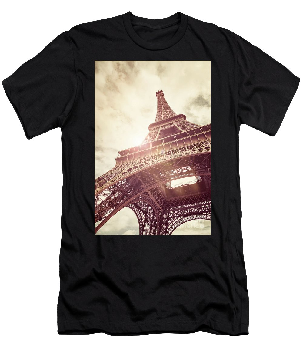 Eiffel Men's T-Shirt (Athletic Fit) featuring the photograph Eiffel Tower In Sunlight by Jane Rix