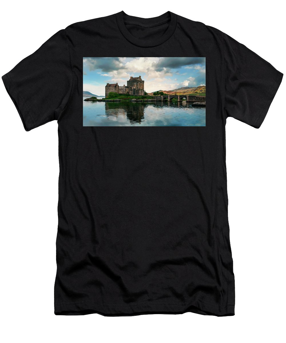 Loch Men's T-Shirt (Athletic Fit) featuring the photograph Eilean Donan Castle On A Cloudy Day by Jaroslaw Blaminsky