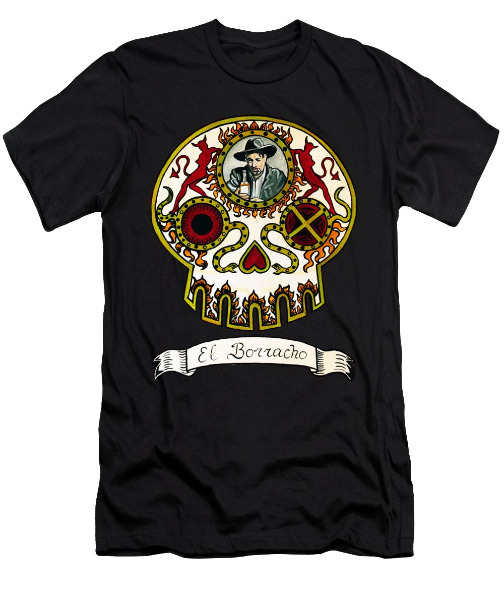 Skull Men's T-Shirt (Athletic Fit) featuring the painting El Borracho - The Drunk by Mix Luera