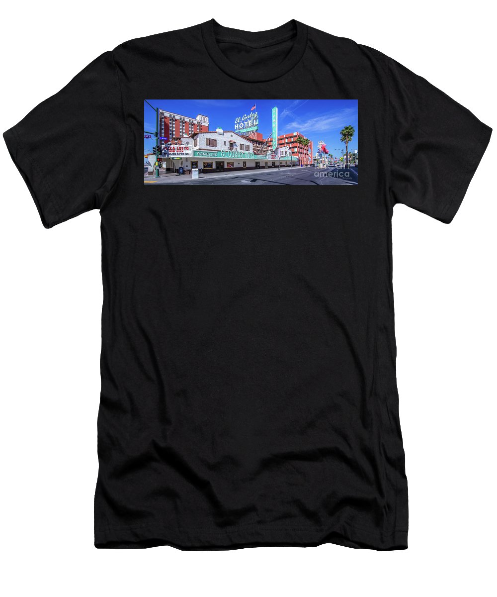 El Cortez Hotel Men's T-Shirt (Athletic Fit) featuring the photograph El Cortez Hotel On Fremont Street 2.5 To 1 Ratio by Aloha Art
