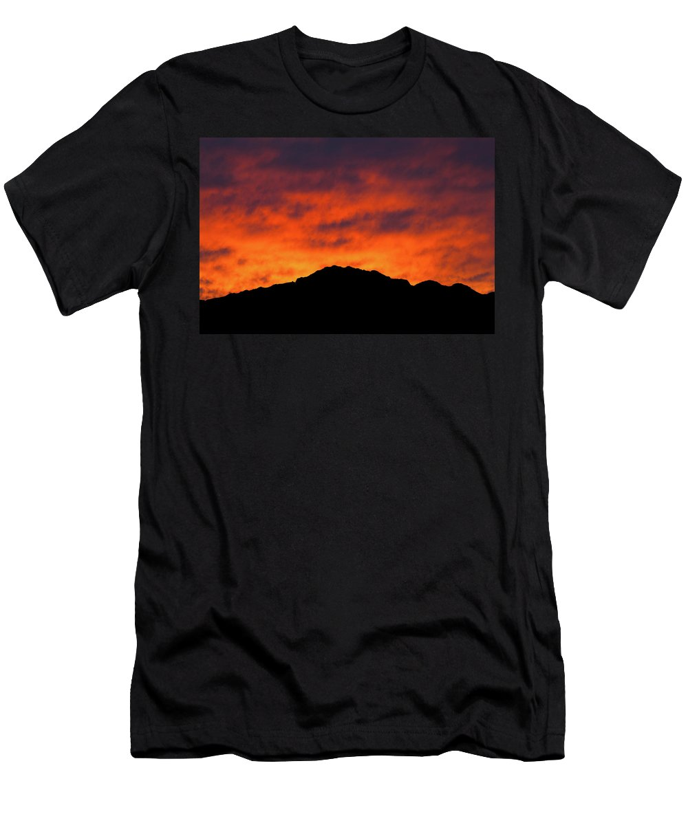 Castner Range Men's T-Shirt (Athletic Fit) featuring the photograph El Paso Fiery Sunset by SR Green