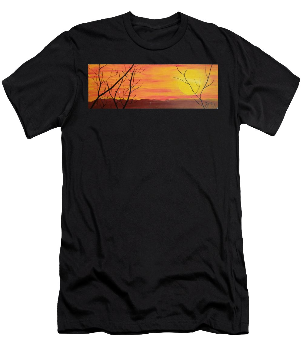 Sunset Men's T-Shirt (Athletic Fit) featuring the painting el Sol en Pleno Otono by Sara Baker