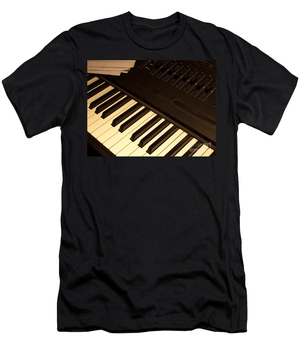Keyboard Men's T-Shirt (Athletic Fit) featuring the photograph Electronic Keyboard by Ann Horn