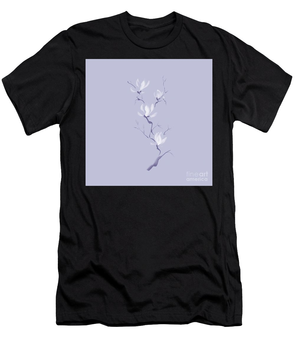 Flower Men's T-Shirt (Athletic Fit) featuring the mixed media Elegant Branch Of White Magnolia Flowers Artistic Design On Ligh by Awen Fine Art Prints